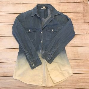 Ombré Gradient Chambray Shirt Size Medium NWOT